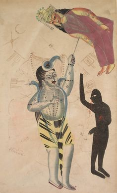 This unusual image portrays Shiva holding aloft the corpse of his wife Sati with his trident. Sati immolated herself because of the hostility directed toward her husband Shiva by her father Daksha. Fine Art Prints, Framed Prints, Canvas Prints, Indian Folk Art, Cleveland Museum Of Art, Mother Goddess, Effigy, Indian Paintings, Heritage Image
