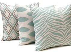 Decorative Throw Pillow Covers for 16 x 16 Pillows Cushion Covers Seafoam Green on Linen Three Coordinating Prints