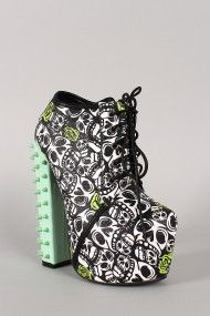Mona Skull Rosette Print Lace Up Platform Bootie How can I possibly go on living without these monstrosities?