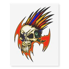 Feathered Cyborg Skull Temporary Tattoos