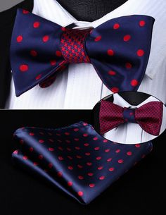 Red Dots Bow Tie and Handkerchief (Double Sided)