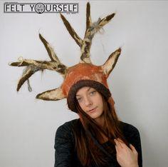 Deer costume hat by FeltYourself  Deer antlers   Fantasy Fairytale Wedding Headdress   Felted Wool Deer Hat