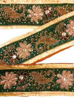 Trim & Edging Embellishments & Finishes Modest Sanskriti Vintage Saffron Sari Border Hand Embroidered Indian Craft Trim Lace