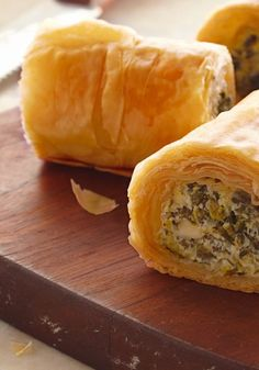 Make-Ahead Spinach Phyllo Roll-Ups — Keep a few of these roll-ups in the freezer and pop one in the oven whenever you need a quick, easy appetizer recipe. Fast and frozen can still be delicious!