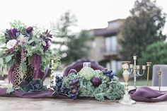 Plum and green centerpieces | Sweetly Vintage Photography | see more on: http://burnettsboards.com/2015/11/aubergine-mint-chateau-wedding/