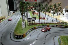 Slot Car Racing, Slot Car Tracks, Slot Cars, Race Cars, Auto Racing, Scenery, Fair Grounds, Building, Diorama Ideas