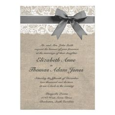 White Lace and Burlap Wedding Invitation. I would like just plain white instead of burlap though