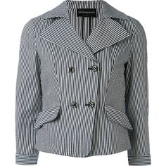 Emporio Armani striped blazer ($785) ❤ liked on Polyvore featuring outerwear, jackets, blazers, black, stripe blazer, emporio armani jacket, blazer jacket, stripe jacket and emporio armani