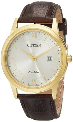 Citizen Men's AW1232-04A Eco-Drive Gold-Tone Watch with Brown Leather Band. Light-powered Eco-Drive watch featuring textured sunray dial with date window at three o'clock. 40 mm stainless steel case with mineral dial window. Japanese quartz movement with analog display. Leather calfskin band with buckle closure. Water resistant to 30 m (99 ft).