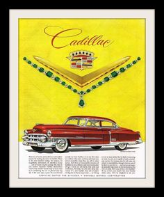 Original 1953 Cadillac de Ville car advertisement print. From their jewels ad, emerald jewelry by Van Cleef & Arpels. Red 2-door hardtop coupe with white wall tires. An art print richly detailing thei