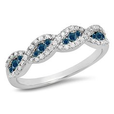 0.35 Carat (ctw) 10K Gold Round Blue & White Diamond Bridal Stackable Wedding Band 1/3 CT
