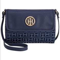 Tommy Hilfiger Blue Jacquard Flap Crossbody Cute Tommy Hilfiger Flap Crossbody. New with tags. Last picture shows actual size of the bag ( next to the bag is iPhone4) Tommy Hilfiger Bags Crossbody Bags