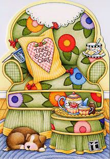 Mary Engelbreit Care Chair Get Well Card Get comfy, then get well! Mary Engelbreit, Creation Photo, Get Well Cards, Illustrations, Paper Dolls, Tea Party, Cute Pictures, Whimsical, Artsy