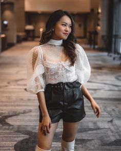 sheer white top with lace bralette and black faux leather shorts. White Sheer Top, White Tops, Leather Shorts, Black Faux Leather, Lace Bralette, Personal Style, Mesh, My Style, Fishnet