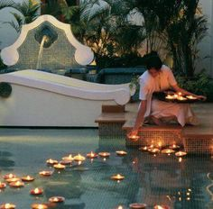 floating candles in your pool. a must while entertaining outdoors in the evening. got the candles. now all I need is the pool! Outdoor Spaces, Outdoor Living, My Pool, Floating Candles, Pool Candles, Floating Lights In Pool, Outdoor Candles, Hanging Candles, Tea Candles