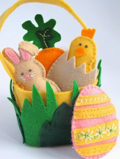 It's Time For An Easter Basket.... With Friends!       This adorable wool felt Easter Basket and Friends Set is quick to stitch and a...