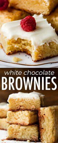 How to make 1 bowl white chocolate brownies on sallysbakingaddic. Better than . - How to make 1 bowl white chocolate brownies on sallysbakingaddic… Better than blondies! Brownie Desserts, Brownie Recipes, Easy Desserts, Cookie Recipes, Delicious Desserts, Dessert Recipes, Brownie Ideas, Brownie Bar, White Chocolate Brownies