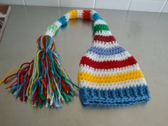 Photo Prop - Crocheted bright, colorful long tail elf hat for infant 0-3 months - Ready to Ship