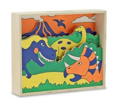 Use the key to discover the prehistoric scene in the Melissa and Doug Wooden Paint by Numbers Shadowbox Kit! Featuring detailed wooden panels and a support frame, simply paint the panels, and glue them into place to create a beautiful work of art!