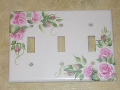 HP Chic Shabby Pink Rose Triple Switch Plate Cover