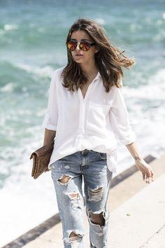 espadrilles: Ulanka (s/s 16) // jeans: Zara // shirt: Zara // sunglasses: Styligion // bracelets: Alexandra Lyng + Coordinates // clutch: SU-SHI