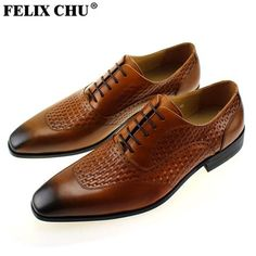 FELIX CHU Italian Brown Genuine Leather Men Oxford Shoes