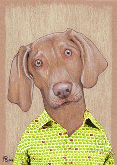 KARL - Dessin,  14,8x21x0,1 cm ©2016 par evafialka -                                                                        Art figuratif, Papier, Animaux, Chiens, dog, weimar, portrait de chien, commissioned portrait