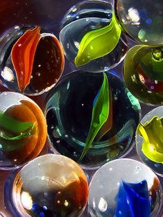 marbles in water, Glass_House Peter Et Sloane, Hanging Chandelier, Marble Art, Glass Marbles, Glass Paperweights, Glass House, Glass Ball, Colored Glass, Colored Pencils