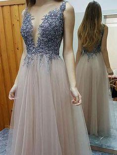 Long Prom Dresses Scoop Floor-length Rhinestone Backless A-line Prom Dress Evening Dress JKL630