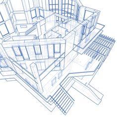 Architecture Blueprints House house: technical draw stock photo | landscape architecture