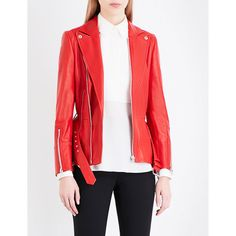 Alexander Mcqueen Belted leather biker jacket ($3,075) ❤ liked on Polyvore featuring outerwear, jackets, genuine leather biker jacket, motorcycle jacket, leather motorcycle jacket, moto jacket and real leather jackets
