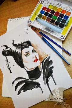 a watercolor rendition of Maleficent... magical! @Danielle Duran,donuts and doodles