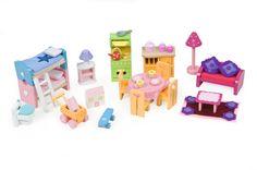 Le Toy Van Deluxe Furniture Set Great To Start Up Unfurnished House Kids Furniture Sets, Lane Furniture, Colorful Furniture, Luxury Furniture, Furniture Making, Barbie Furniture, Dollhouse Furniture, Dollhouse Accessories, Home Accessories