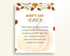 Dont Say Baby Baby Shower Dont Say Baby Autumn Baby Shower Dont Say Baby Baby Shower Pumpkin Dont Say Baby Orange Brown party decor OALDE - Digital Product #babyshowergames #babyshowerdecorations