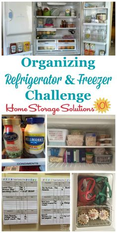 Step by step instructions for organizing your refrigerator and freezer, including decluttering tips and storage solutions part of the 52 Week Organized Home Challenge on Home Storage Solutions 101 Refrigerator Organization, Calendar Organization, Recipe Organization, Home Organization Hacks, Refrigerator Freezer, Pantry Organization, Organizing Ideas, Household Organization, Refrigerator Storage