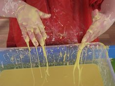 You will need 2 cups of cornflour, 1 cup of water, two drops of food dye and a large container.  Encourage your child to mix and play with the Gloop before it is completely mixed together, the fun and learning starts here.  Explore the texture and talk about what it feels like, sticky, slimy, cold and powdery.