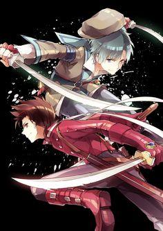 Tags: Anime, Tales of Symphonia, Lloyd Irving, Tales of Innocence, Spada Belforma, Black Background, Himishiro