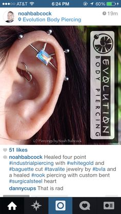 Four point industrial with tavalite BVLA jewelry and rook with heart jewelry