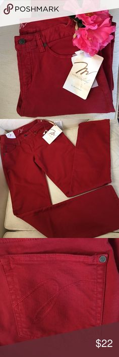 """MIRACLE BODY JEANS by Miracle suit. AWESOME RUBY COLORED MIRACLE BODY KATIE JEANS.  15"""" Waist measured Flat Across. 9"""" Rise •  32"""" inseam.  Cotton, Polyester and Spandex Blend.  JEANS THAT OFFER COMFORT and CONTROL. Miraclesuit Jeans Straight Leg"""