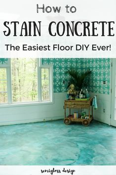 inexpensive flooring DIY stained concrete is an easy affordable solution for your ugly floors! Come check out how I made mermaid floors in my sunroom! Diy Concrete Stain, Acid Stained Concrete Floors, Painted Concrete Floors, Painting Concrete, Concrete Slab, Plywood Floors, Concrete Countertops, Ideas For Concrete Floors, Concrete Floor Paint