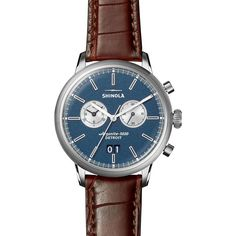 Shinola Limited Edition Bedrock Watch, 42mm ($1,500) ❤ liked on Polyvore featuring men's fashion, men's jewelry, men's watches, mens blue watches and mens brown leather watches