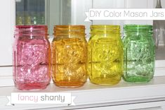 DIY Color Mason Jars - Fancy Shanty
