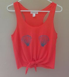 Mermaid Inspired Coral Seashell Crop Top by ConfettiBandits, $17.00 or find old shirt diy and somehow make seashells