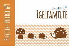 FREE CUT FILES Plotter Freebie Igel woodland animals hedgehog family toadstool autumn fall