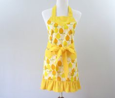 Womens Yellow Apron Lemons & Oranges Fruit by StitchedbyBeverly
