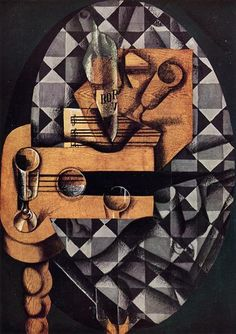 """""""Guitar, Bottle and Glass"""".Artist: Juan Gris Completion Date: 1914 Style: Synthetic Cubism Genre: still life Technique: crayon, gouache Material: canvas Gallery: Museum of Modern Art, New York, USA. Spanish Painters, Spanish Artists, Memento Mori, Synthetic Cubism, Picasso And Braque, Francis Picabia, Cubism Art, Picasso Cubism, Sonia Delaunay"""