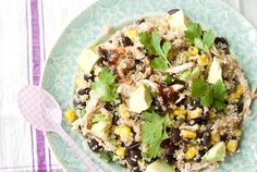 BBQ Chicken Quinoa SaladIngredients    1 cup cooked quinoa   1/2 cup frozen or fresh corn, thawed   1/2 cup black beans, rinsed and drained   1 cup shredded chicken, cooked   2 Tbsp barbeque sauce of your choice   1/2 avocado, chopped   2 green onions, chopped   Salt and pepper, to taste   Cilantro, as garnish