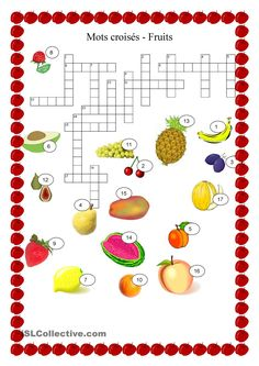 Nourriture - Fruits mots croisés French Worksheets, French Lessons, Dominos, Types Of Fruit, Core French, French Language, Teaching French, Crossword, Learn French