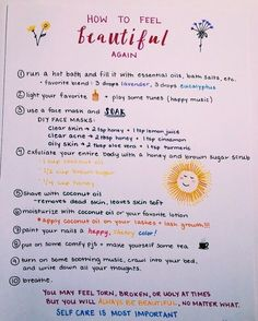How to feel beautiful - simple self-care tips Bullet Journal Ideas Pages, Journal Prompts, Journals, Arthritis, Stress, All Meme, Self Care Activities, Self Improvement Tips, Self Care Routine
