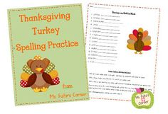 Free Thanksgiving spelling work with themed words and activities from Ms. Fultz's Corner